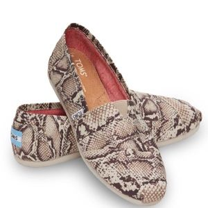 TOMS | Brown Canvas Snake Print Flat 8